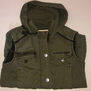 *Anthropologie* Army Green Hooded Vest